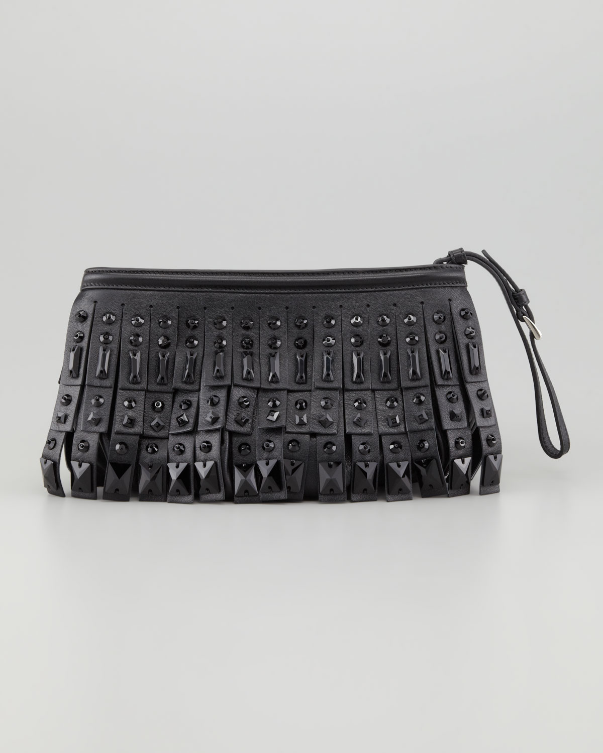 prada grey leather bag - prada bag with fringe