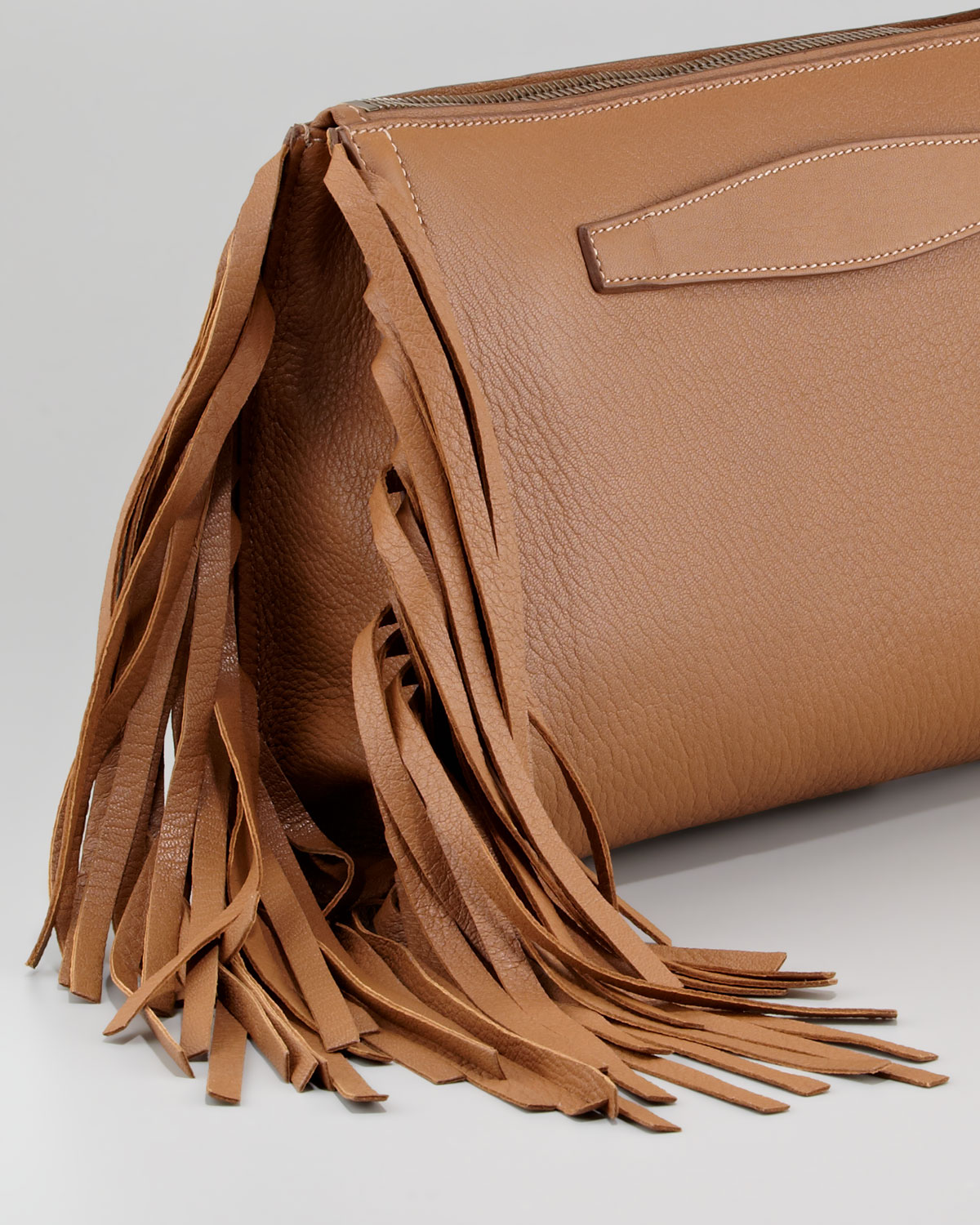 where to buy prada - Prada Cervo Fringe Clutch Bag in Brown (dark camel) | Lyst