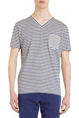 PS by Paul Smith Striped V-neck Tee - Lyst