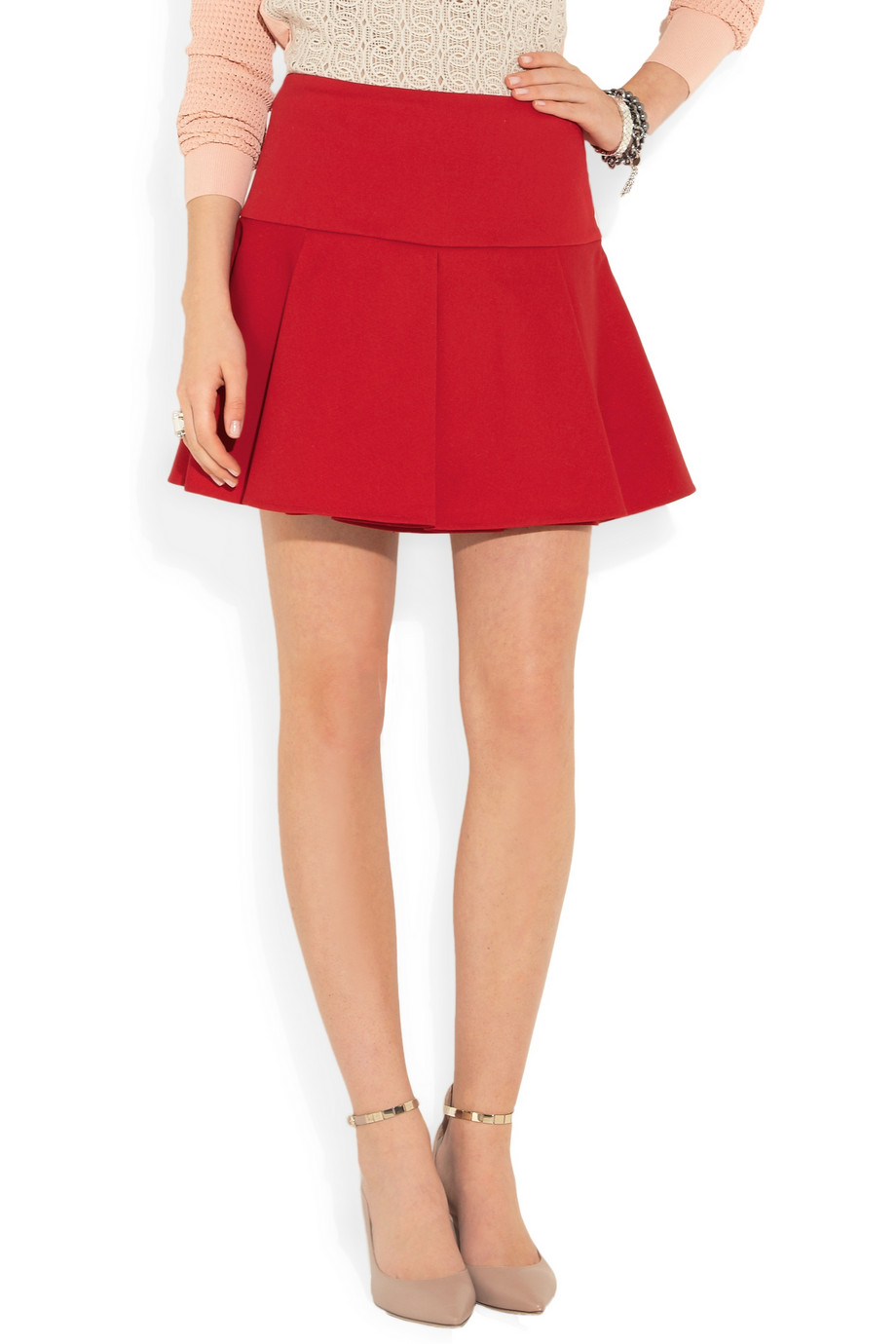 Red valentino Pleated Stretch-cotton Mini Skirt in Red | Lyst