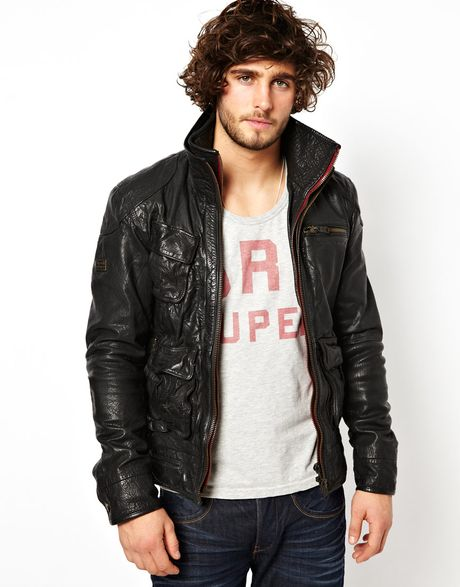superdry leather jacket in black for men lyst. Black Bedroom Furniture Sets. Home Design Ideas