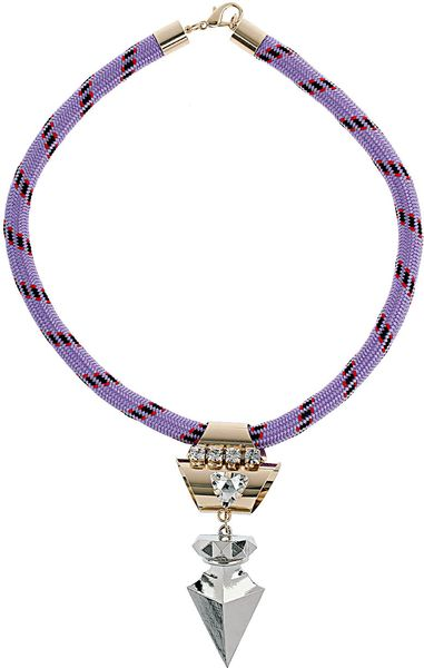 Topshop Fabric Metal Drop Necklace in Purple (multi)