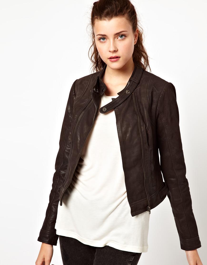 Asos Vero Moda Collarless Leather Jacket In Brown | Lyst