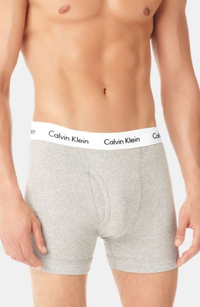 Calvin Klein Stretch Cotton Boxer Briefs 2pack in Gray for Men (heather grey) - Lyst
