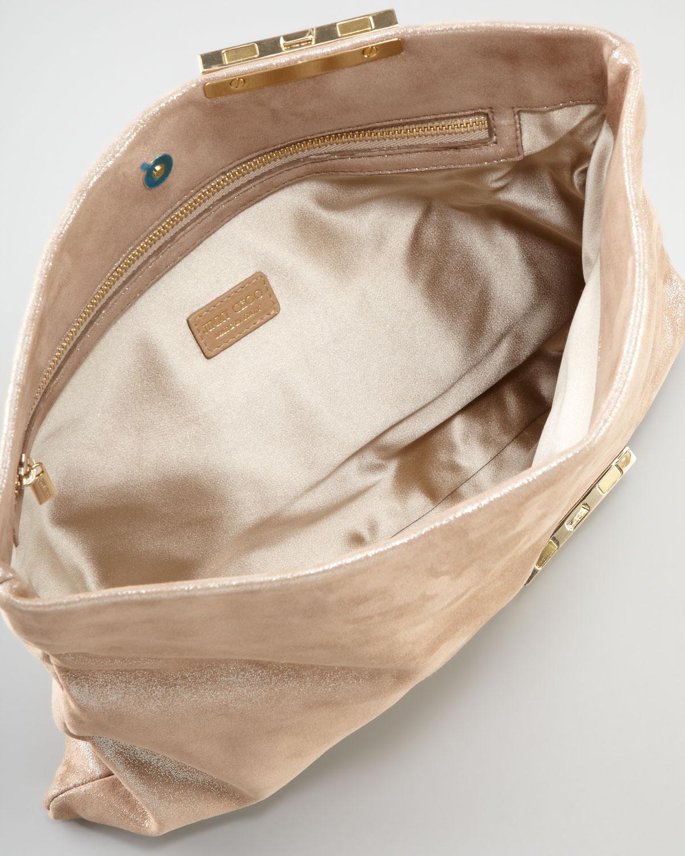 8c9837b19da Jimmy Choo Chandra Chain Shimmer Suede Clutch Bag Sand in Metallic ...