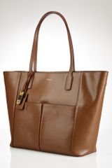 Lauren by Ralph Lauren Newbury Leather Pocket Tote - Lyst