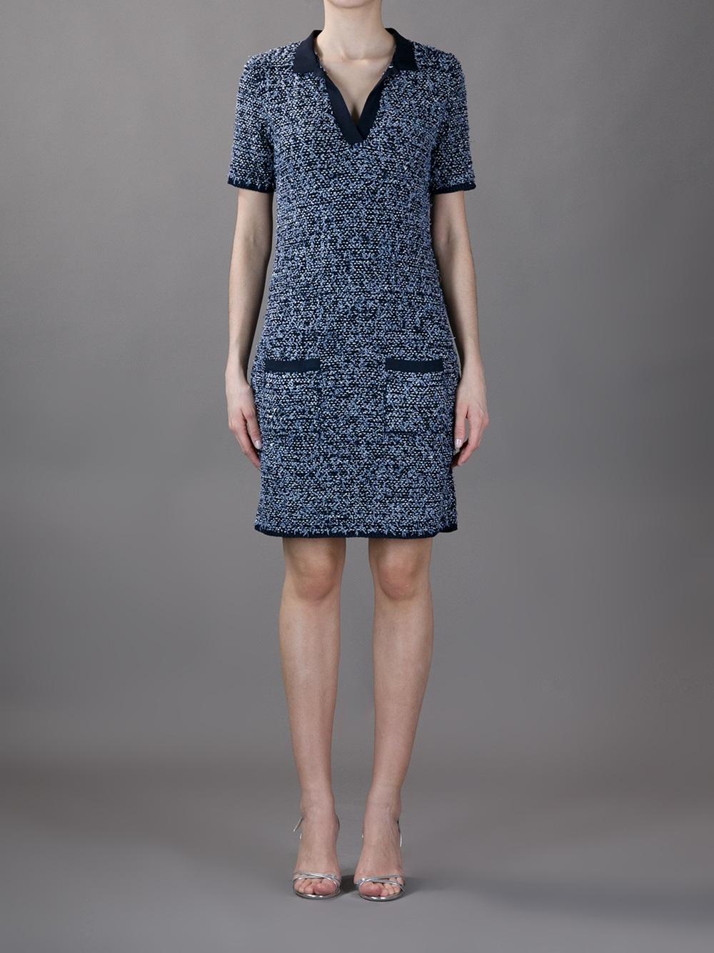 f914beb4b113 Lanvin Tweed Dress in Blue - Lyst