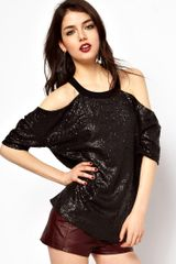 ASOS Collection Asos T-Shirt in Sequin with Cold Shoulder - Lyst
