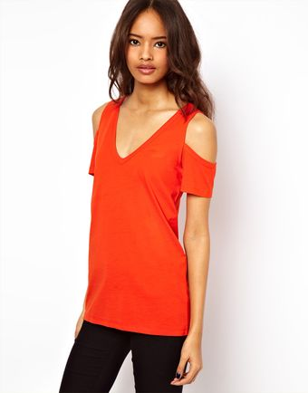 ASOS Collection Asos Tshirt with V Neck and Cold Shoulder - Lyst
