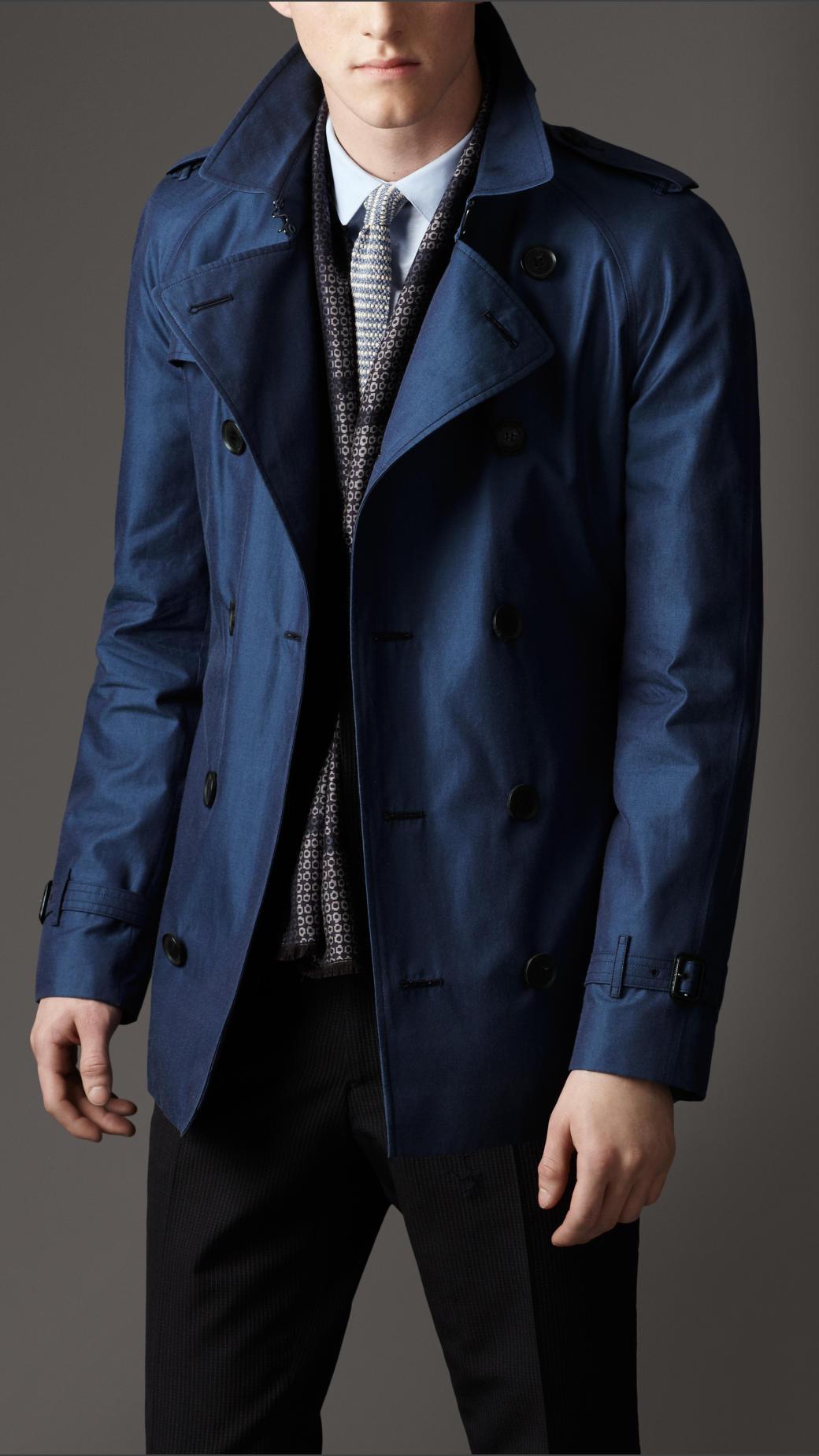 Burberry Short Cotton Gabardine Trench Coat in Blue for Men | Lyst