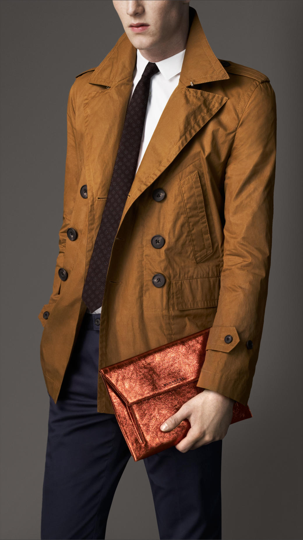 Burberry Coated Cotton Pea Coat in Brown for Men | Lyst