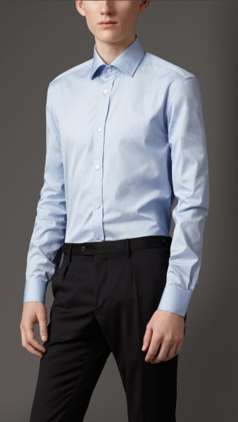 Burberry Classic Fit Cotton Shirt in Blue for Men (sky blue)