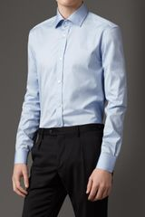Burberry Classic Fit Cotton Shirt in Blue for Men (sky blue) - Lyst