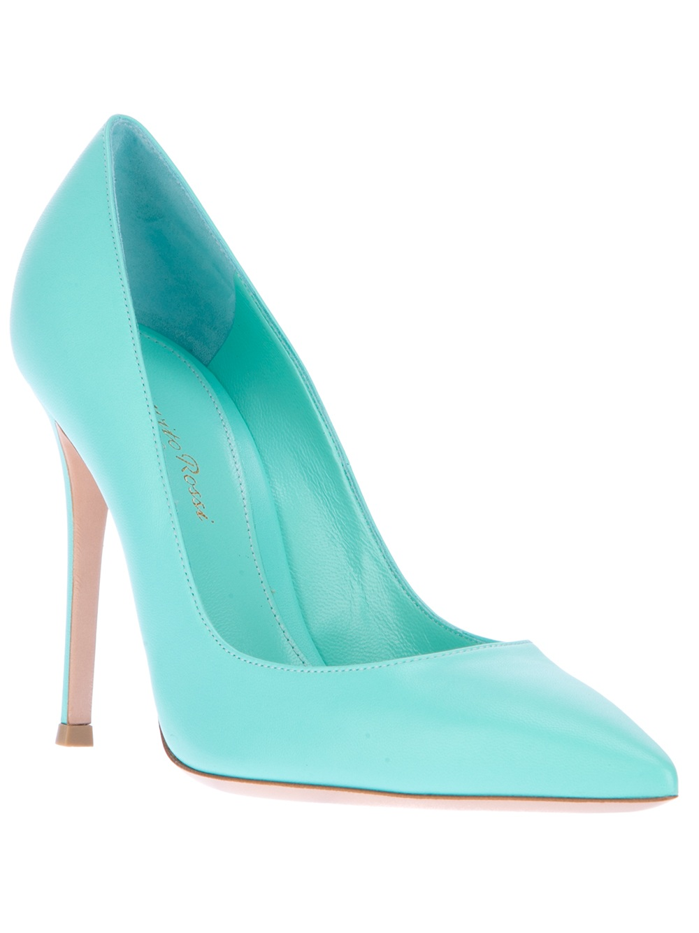 Lyst - Gianvito rossi Pointed Heeled Pump in Blue