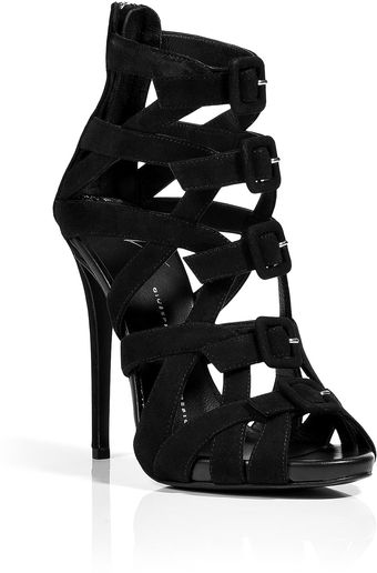 Giuseppe Zanotti Black Suede Buckled Front Wafer Platform Sandals - Lyst