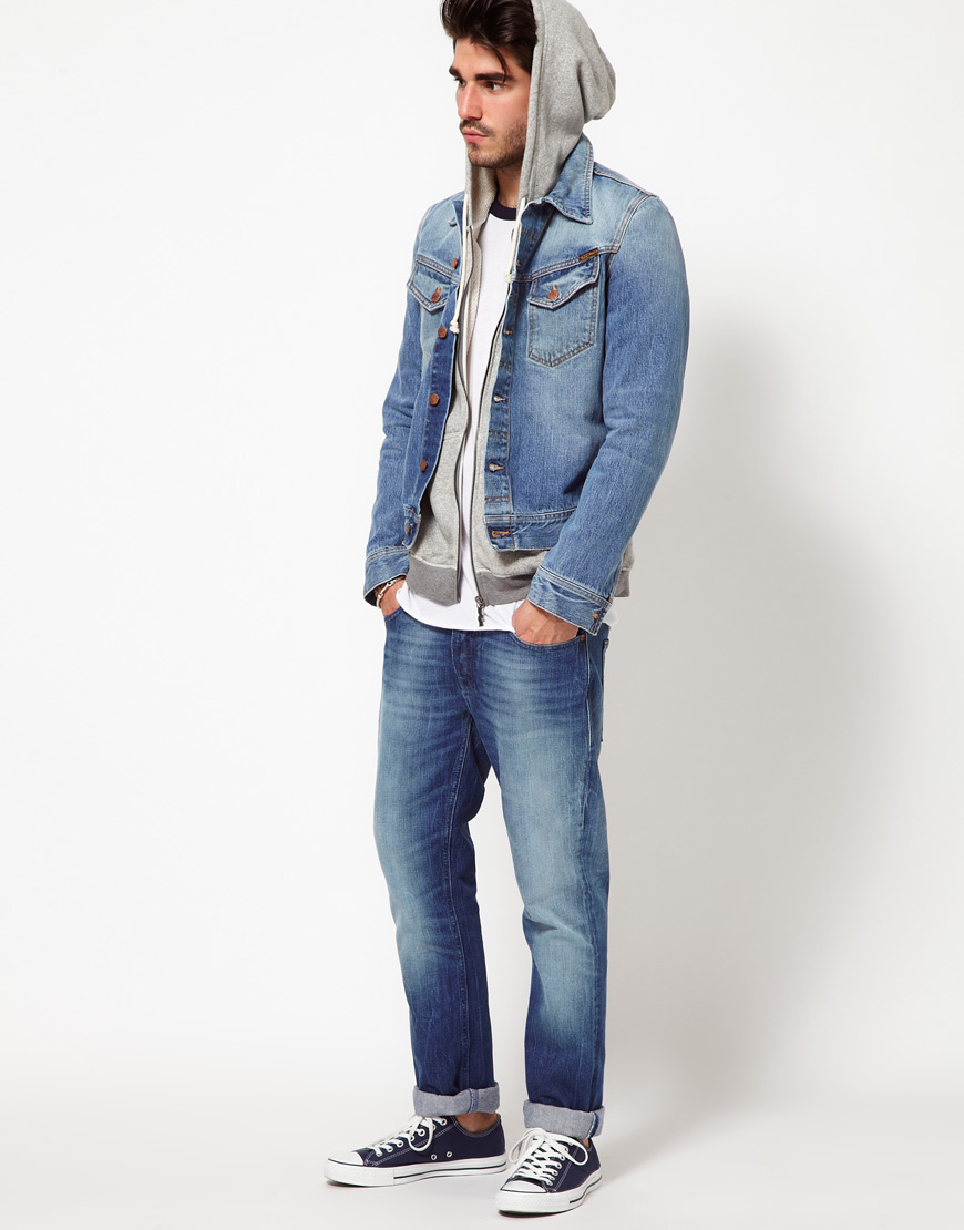 lyst  nudie jeans denim jacket conny light wash in blue