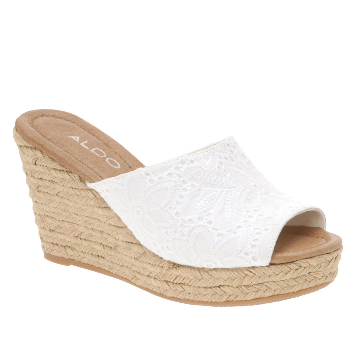 aldo wedge sandals in white lyst