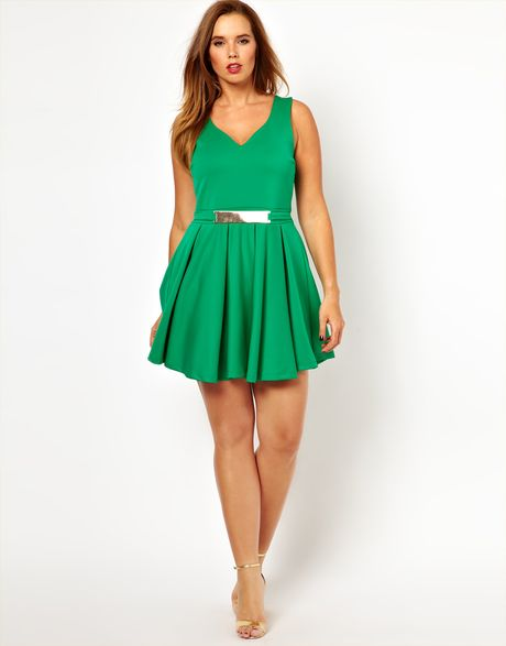 asos curve skater dress with gold belt in green lyst