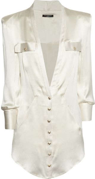 Balmain Silk Satin Shirt - Lyst