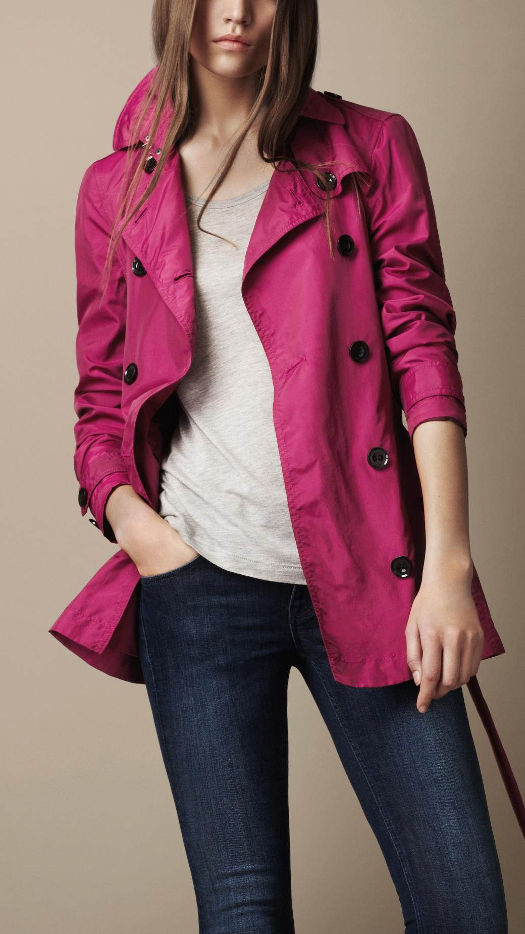 Burberry Brit Short Technical Silk Trench Coat In Pink