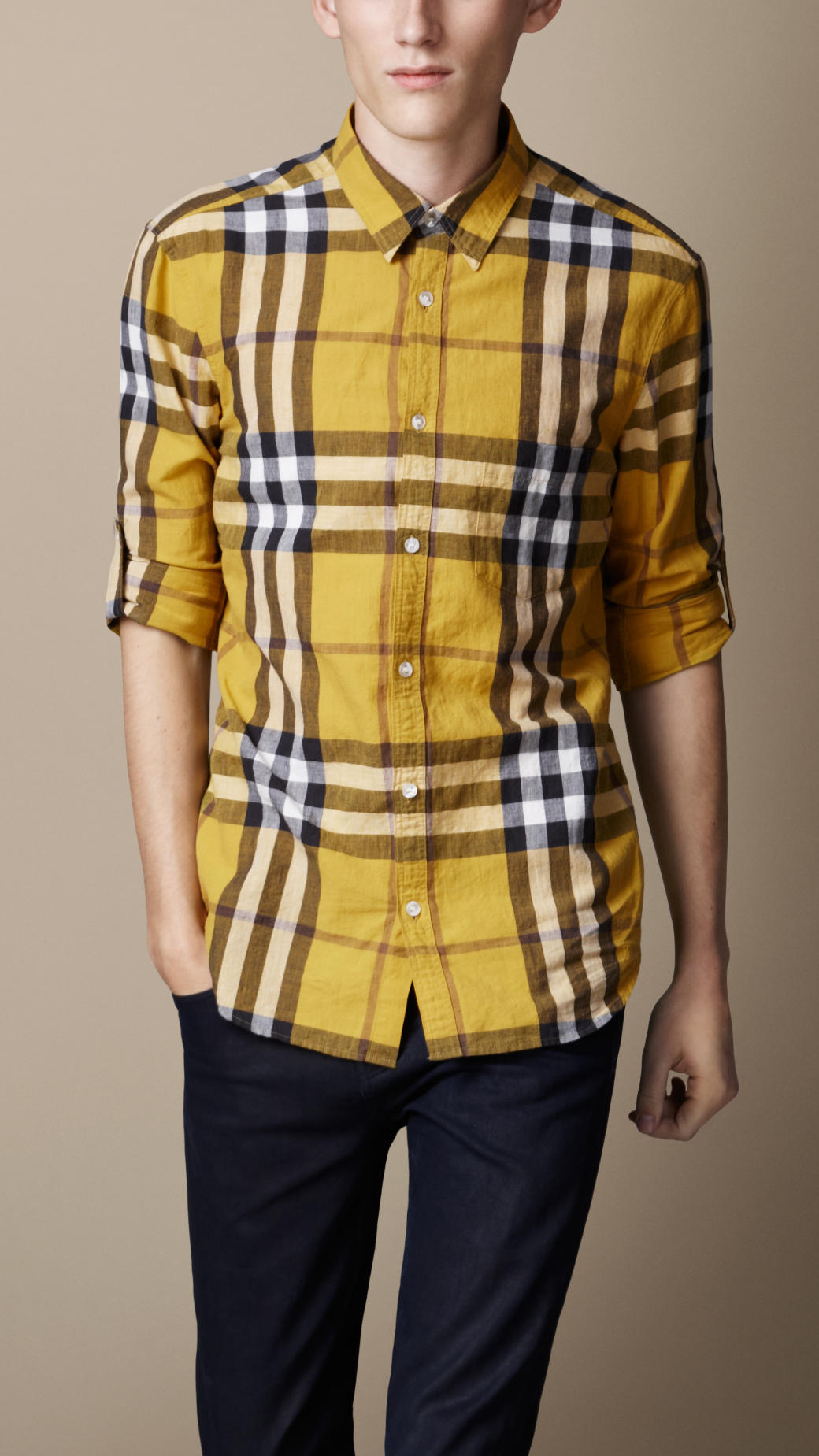 Burberry brit Check Cotton Linen Shirt in Yellow for Men | Lyst