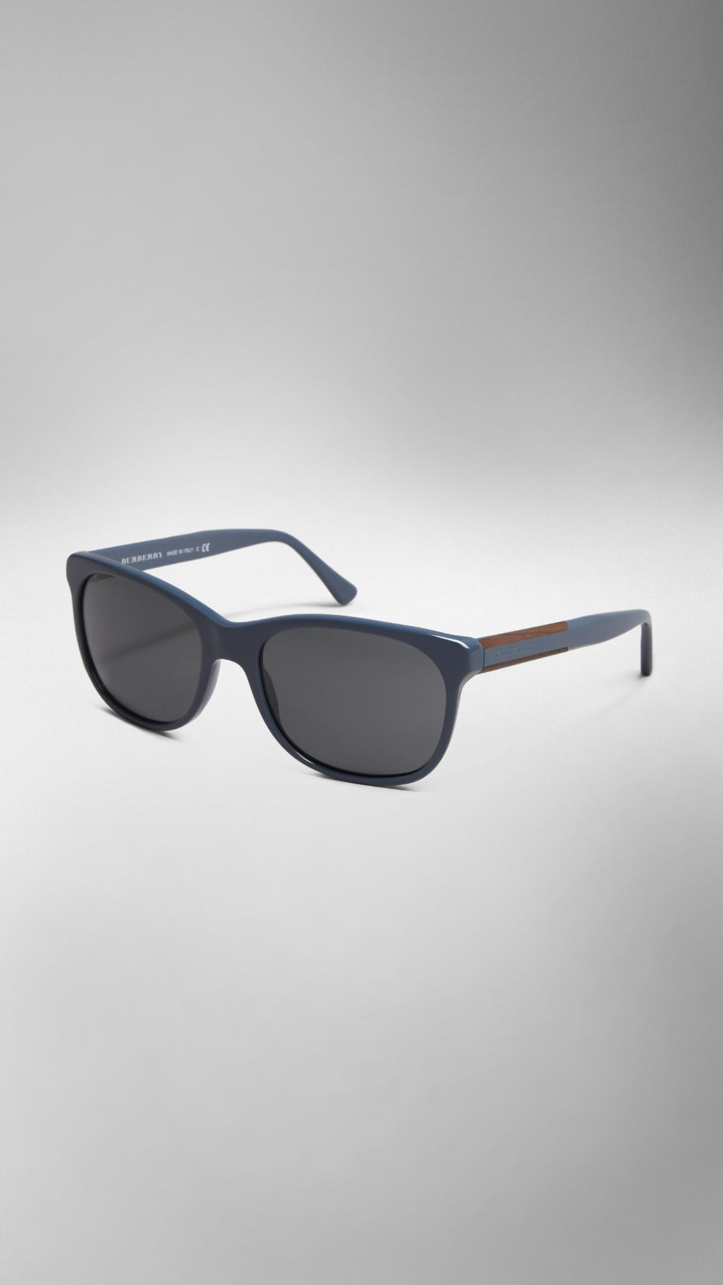 a7223b7a91f Lyst - Burberry Wood Detail Square Frame Sunglasses in Black for Men