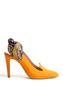 Carven Printed Bow Back Leather Slingback Heels - Lyst