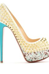 Christian Louboutin Lady Peep Spikes 150 Peeptoe Platform Pumps in White - Lyst