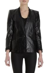 Helmut Lang Fitted Leather Blazer Jacket - Lyst