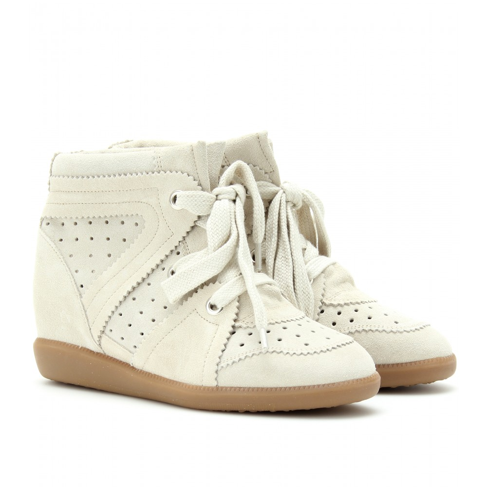 isabel marant bobby suede wedge sneakers in beige lyst. Black Bedroom Furniture Sets. Home Design Ideas
