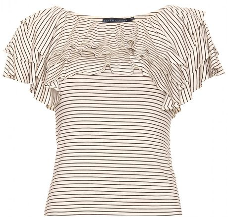 Ralph Lauren Doris Stripe Ruffled Top in White (black)