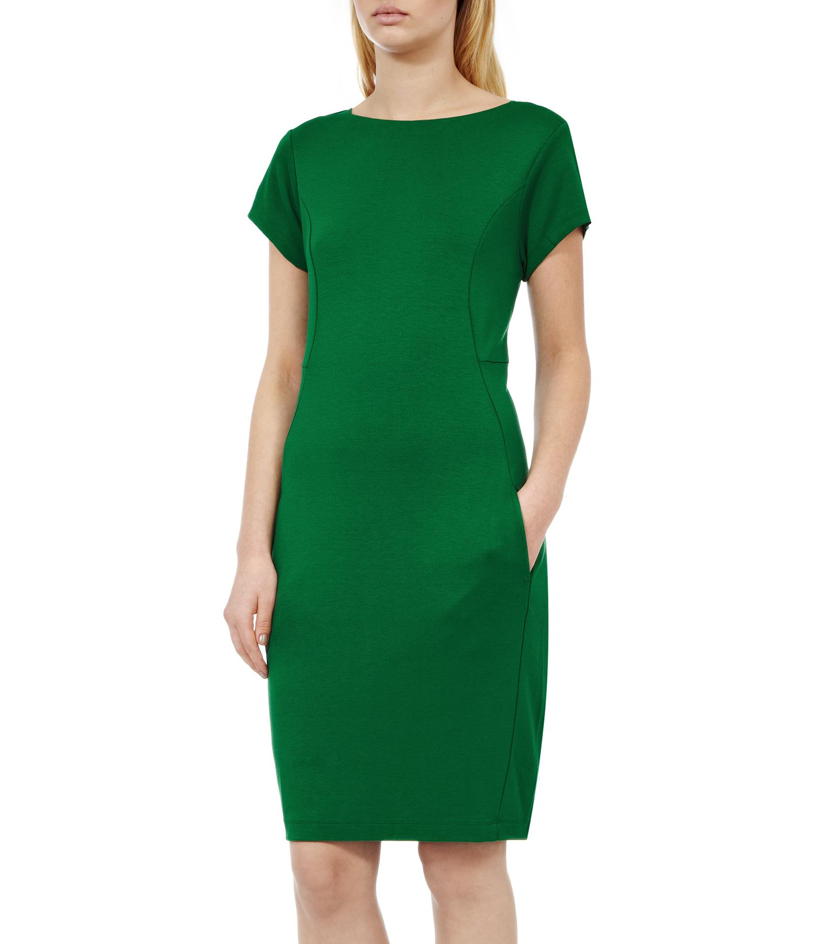 Lyst reiss martina jersey shift dress in green for Apple green dress shirt