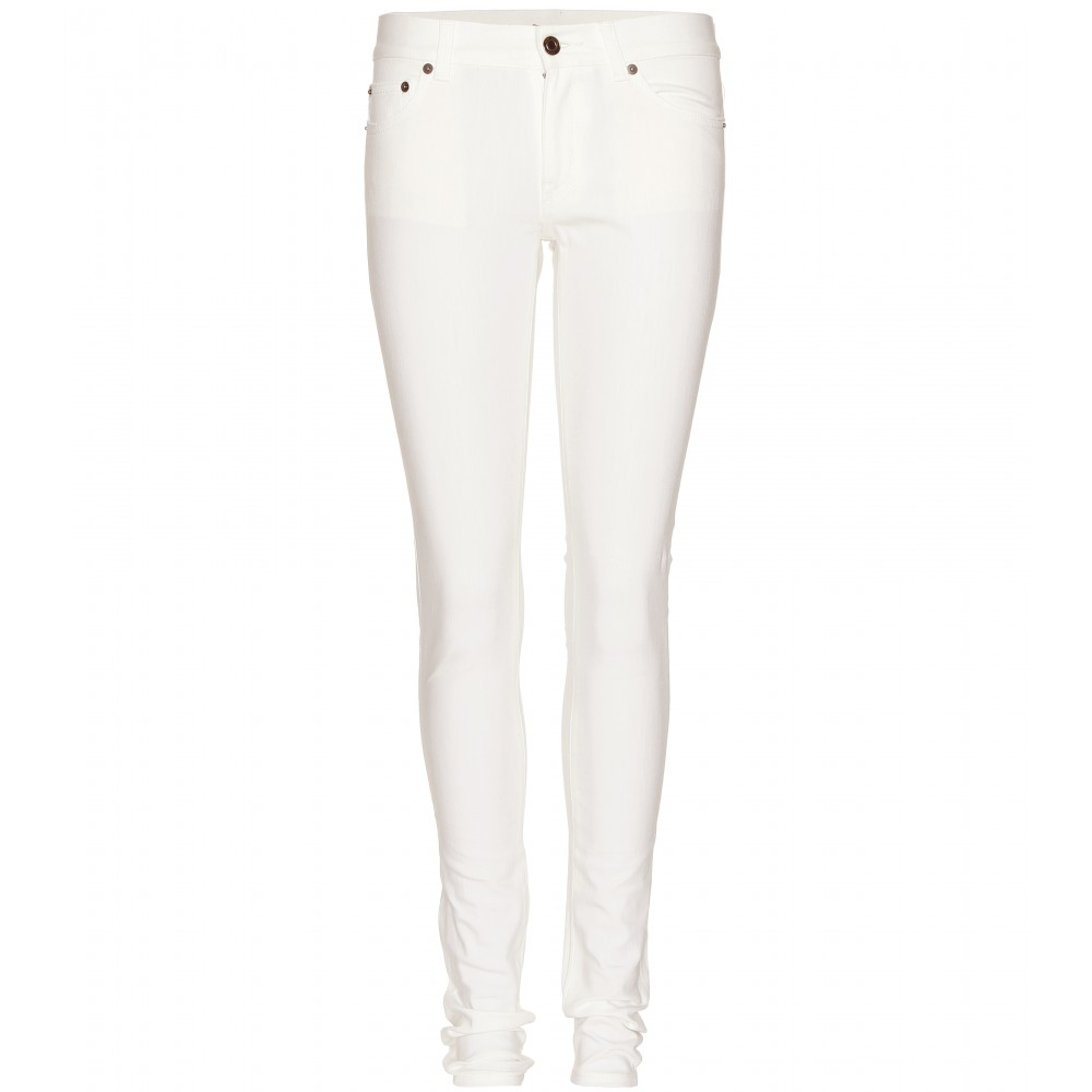 Saint laurent Skinny Jeans in White | Lyst