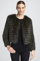Tasha Tarno Pan Leatherstripe Fox Fur Jacket - Lyst
