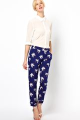 Boutique By Jaeger Palm Tree Tailored Trousers - Lyst