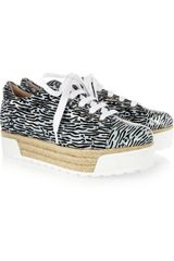 Kenzo Printed Canvas and Patent Leather Platform Sneakers - Lyst