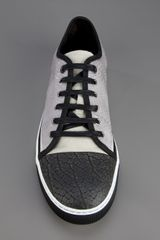 Lanvin Leather Trainer in Gray for Men (grey) - Lyst