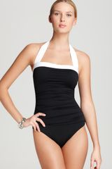 Lauren by Ralph Lauren Swimsuit Bel Air Solids Shirred Halter - Lyst