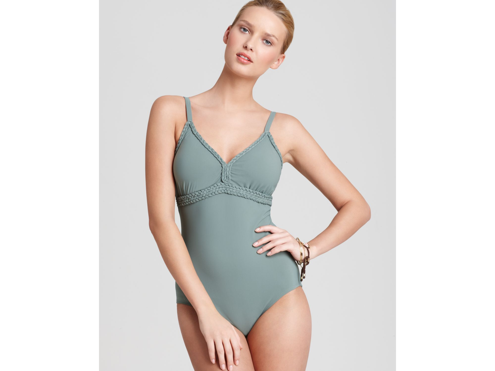 Lisa Curran | Green Swimsuit Braided V Neck Underwire One Piece | Lyst