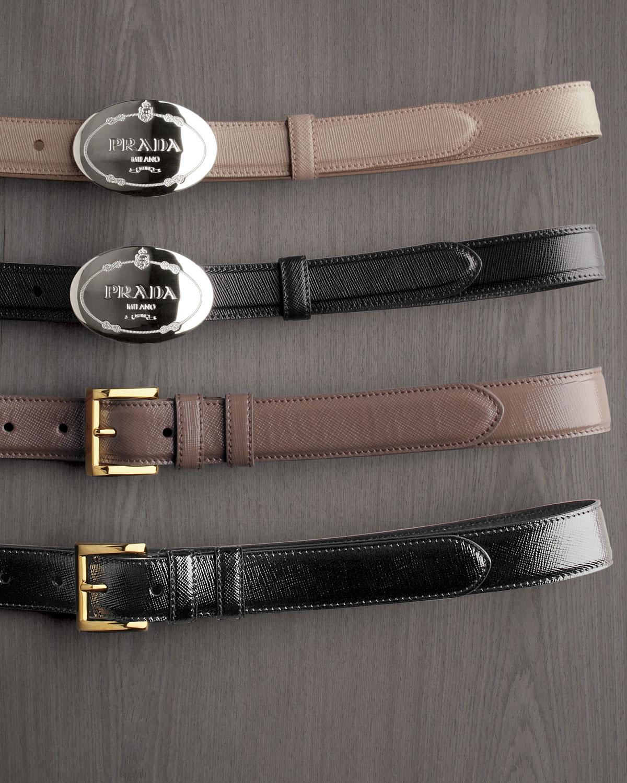 4ecbfe605d ... greece lyst prada saffiano vernice dress belt in brown 11bbd 6a49c
