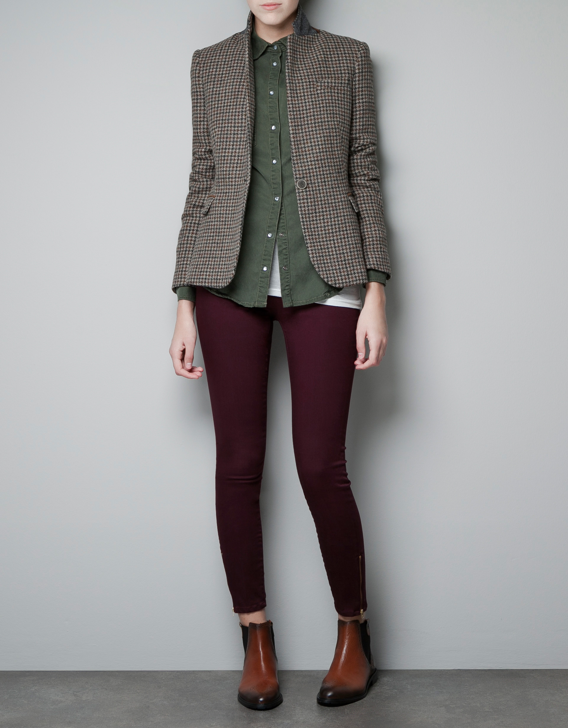zara hounds tooth blazer in gray camel lyst. Black Bedroom Furniture Sets. Home Design Ideas