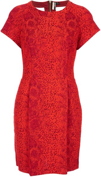Topshop Red Snake Shift Dress - Lyst