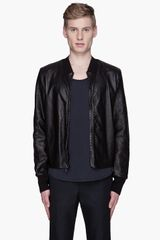 3.1 Phillip Lim Black Leather Mesh Harrington Jacket - Lyst