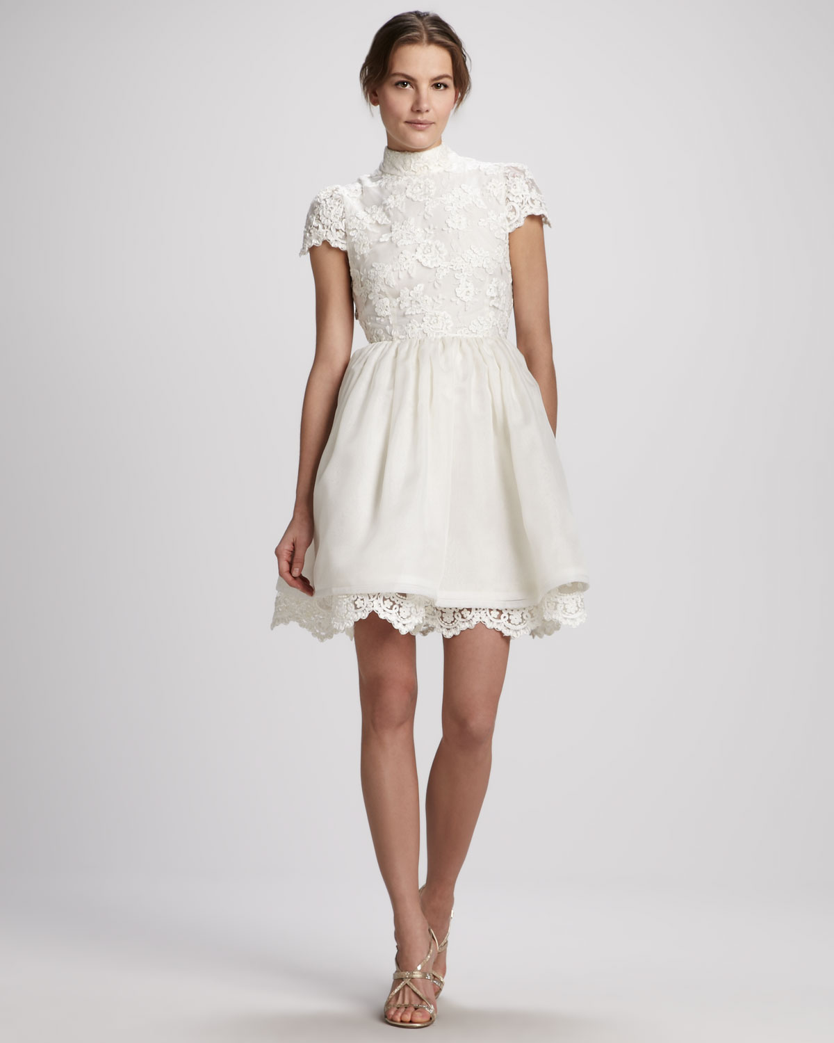 Alice   olivia Fyona Lace Bodice Party Dress in Natural | Lyst