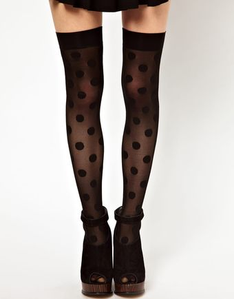 American Apparel Sheer Large Dot Knee Socks - Lyst