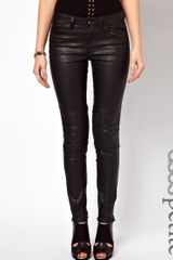 Asos Premium Coated Skinny Biker Jean with Ruched Panel Detail in Black - Lyst