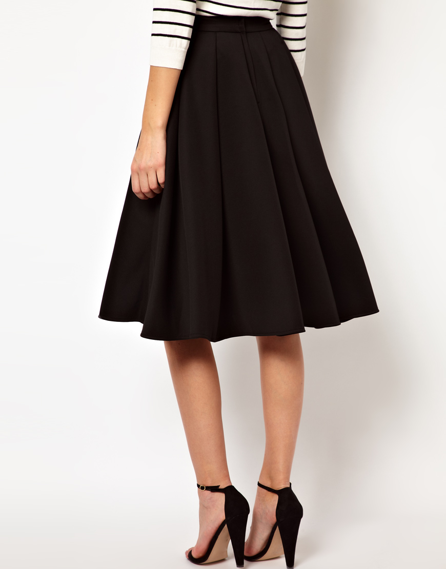 Asos Collection Asos Peplum Top In Sequin In Natural: ASOS Collection Asos Full Midi Skirt With Box Pleats In