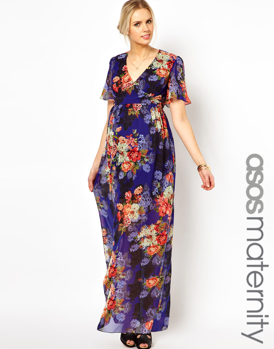 Lyst - ASOS Maxi Dress in Vintage Floral Print in Purple