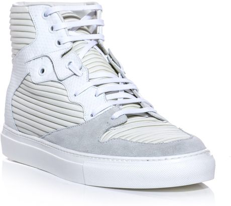 Balenciaga Ribbedleather Hightop Trainers in White for Men (ivory)