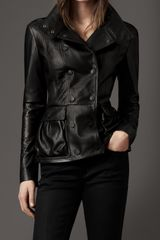 Burberry Peplum Detail Leather Jacket - Lyst